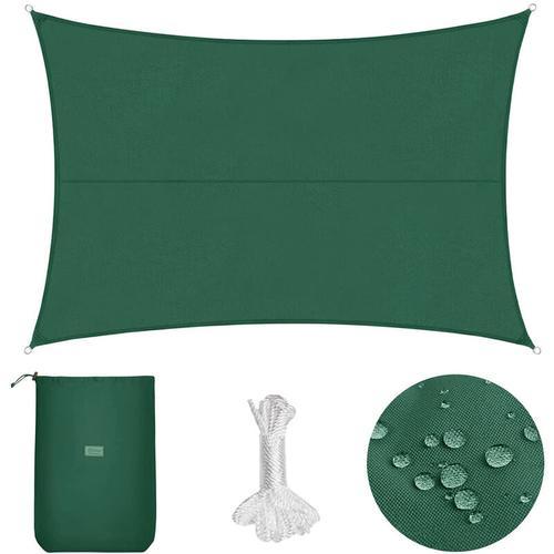 PES Sonnensegel 300 x 400cm Sonnenschutzsegel, Grün mit Seil