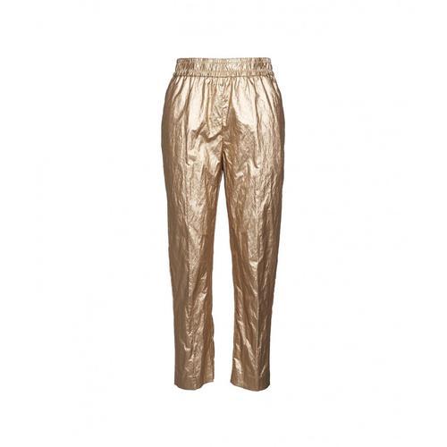 Nude Damen Hose in Eco-Leder Gold