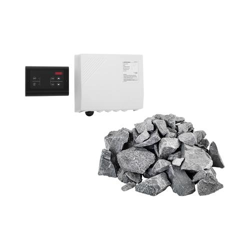 Set Saunasteuerung mit Saunasteinen - LED-Display - 20 kg - für Uniprodo Saunaöfen UNI_SAUNA_S01-SET
