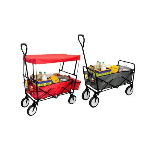 Bollerwagen: Faltwagen mit Dach/ Rot