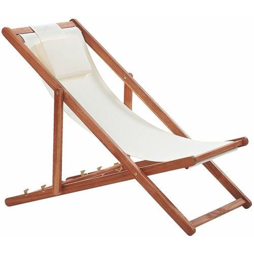 Beliani - Liegestuhl Akazienholz mit beigem Bezug zusammenklappbar Balkon Terrasse