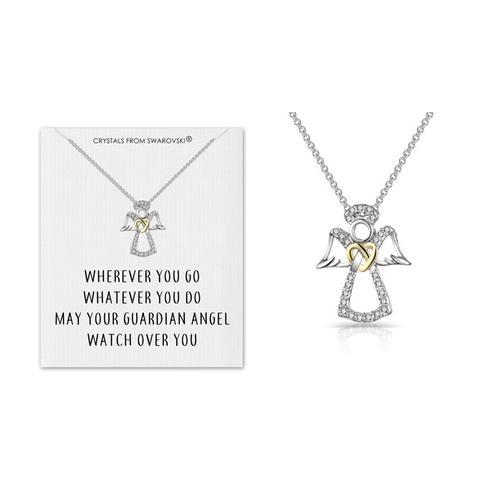 Schutzengel-Halskette mit Swarovski® Kristalle und Zitatkarte: 1
