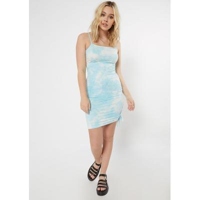 Rue21 Womens Blue Tie Dye Ruched Side Bodycon Dress - Size Xl