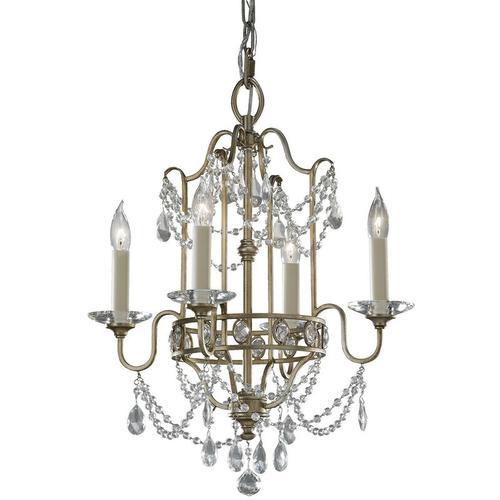 Gianna Anhänger, Silber und Kristall, 4 Glühbirnen