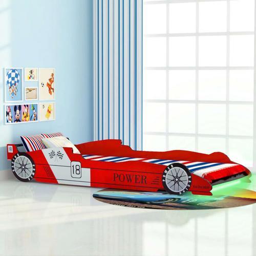 Kinderbett mit LED im Rennwagen-Design 90 x 200 cm Rot