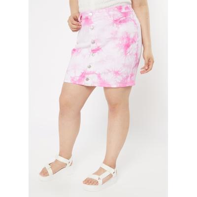 Rue21 Womens Plus Size Pink Tie Dye Button Front Jean Skirt - Size 4X