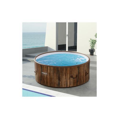 AREBOS In-Outdoor Whirlpool Spa Pool Wellness Heizung Massage Aufblasbar Rund - Holzoptik