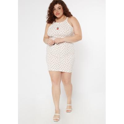 Rue21 Womens Plus Size White Embroidered Cherry Print Bodycon Dress - Size 4X