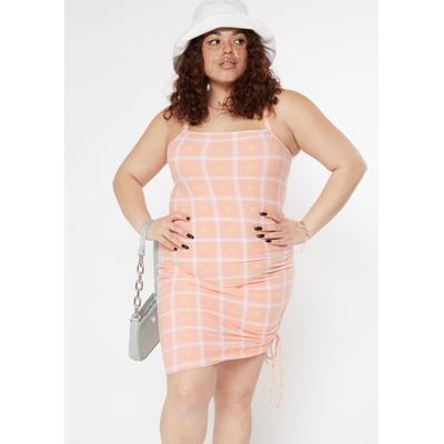 Rue21 Womens Plus Size Pink Plaid Print Ruched Side Mini Dress - Size 1X
