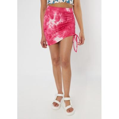 Rue21 Womens Pink Tie Dye Ribbed Ruched Mini Skirt - Size L