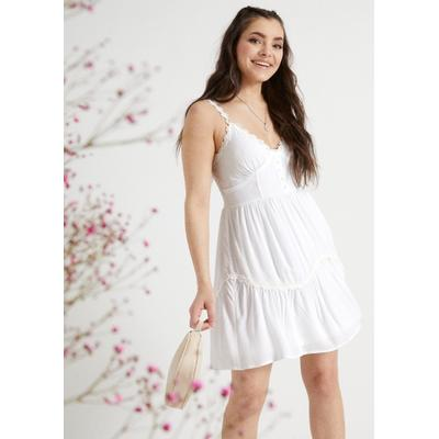 Rue21 Womens White Crochet Daisy Trim Mini Dress - Size Xs