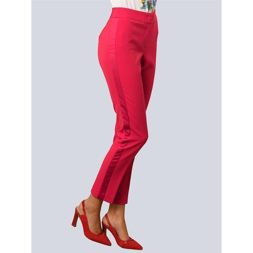 Alba Moda White, Hose mit seitlichem Glanzstreifen, rot
