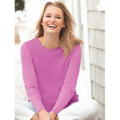 Women's Petite Coastal Cotton Long-Sleeve Tee, Soft Magenta Purple P-XL