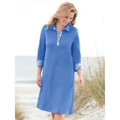 Women's Gingham-Trim Piqué Polo Dress, Light Wedgewood Blue P-M