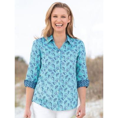 Women's Foxcroft Seashell-Print No-Iron Shirt, Sea Frost Blue 12 Misses