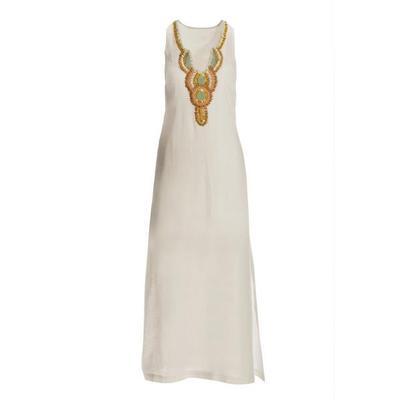 Boston Proper - Linen Embellished Maxi Dress - Off White Multi - Xx Small
