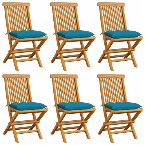 Gartenstühle mit Hellblauen Kissen 6 Stk. Massivholz Teak