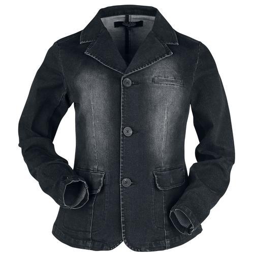 Black Premium by EMP Schwarze Jeansjacke mit Waschung Damen-Jeansjacke - schwarz
