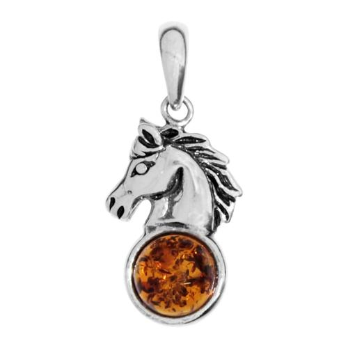 Anhänger - Pferdekopf Silber 925/000 Bernstein OSTSEE-SCHMUCK silber