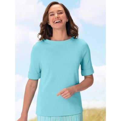 Women's Plus Roll-Sleeve Boat-Neck Tee, Sea Frost Blue 2X