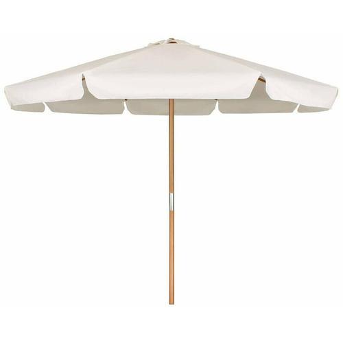 Sonnenschirm ohne Neigung, Gartenschirm Marktschirm, Ø 3m - Creme