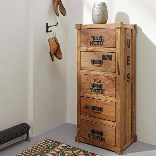 Pflanzen Kölle - Kommode, 5 Schubläden, Sheesham-Holz, ca. 46 x 40 x 115 cm, 42,4 kg