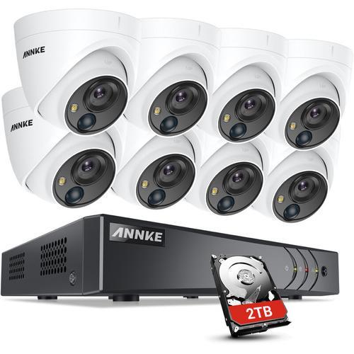 ANNKE 5MP HD 5-in-1 8CH DVR-Überwachungskamerasystem mit 8 * 5MP PIR-Außenkameras - 2 TB Festplatte