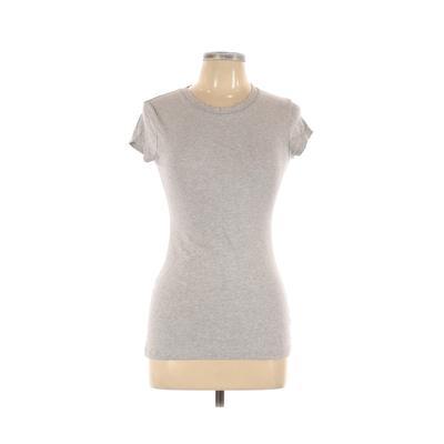 Love Culture Short Sleeve T-Shirt: Gray Solid Tops - Size Medium