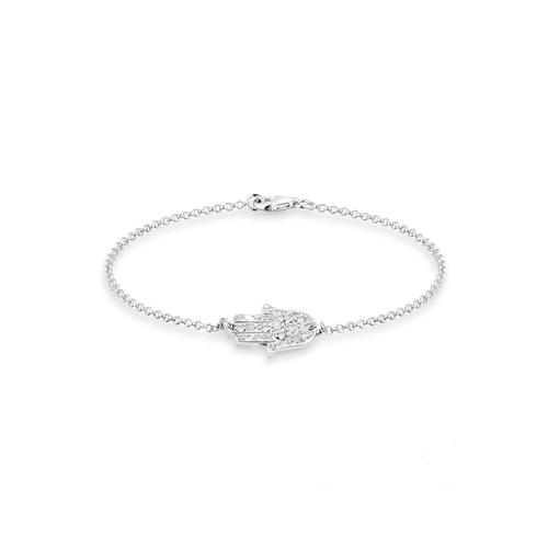 Armband Hamsa Hand Kristalle 925 Silber Elli Silber