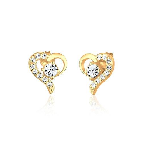 Ohrringe Herz Kristalle Silber Vergoldet Elli Gold