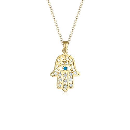 Halskette Hamsa Evil Eye Kristalle Silber Elli Gold