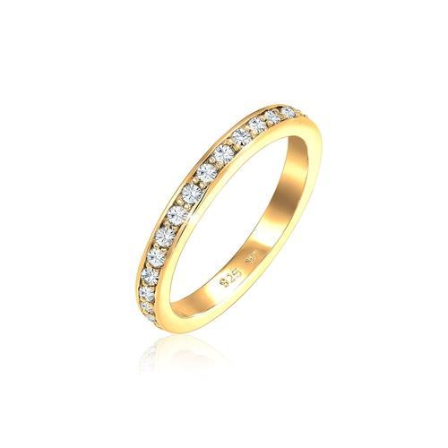 Ring Glamourös Kristalle 925 Sterling Silber Elli Gold