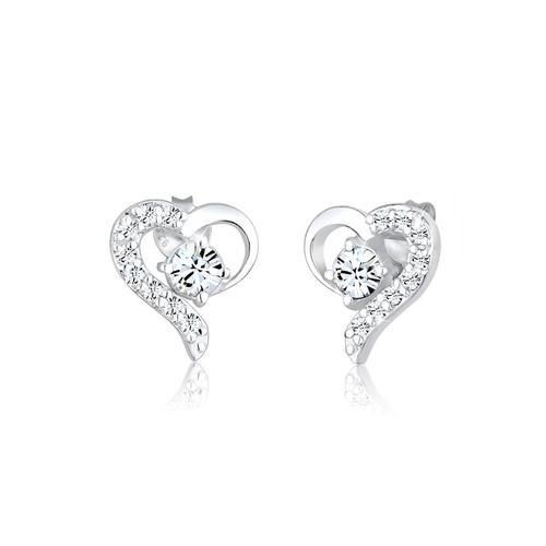 Ohrringe Herz Liebe Kristalle 925 Silber Darling Elli Silber