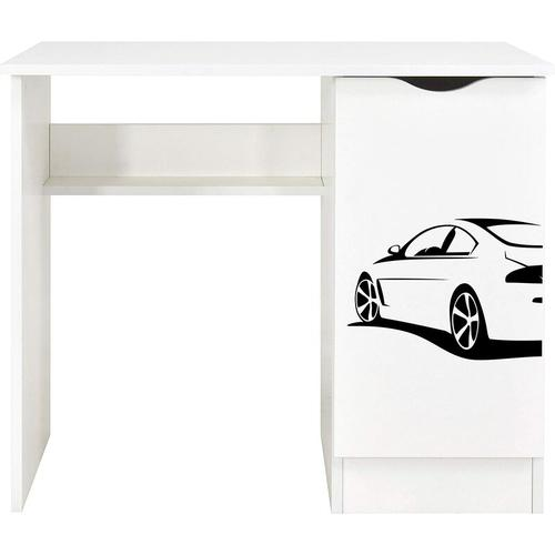 Weiß Kinderschreibtisch - ROMA - Möbel für Kinderzimmer, UV-Druck: SUPER CAR