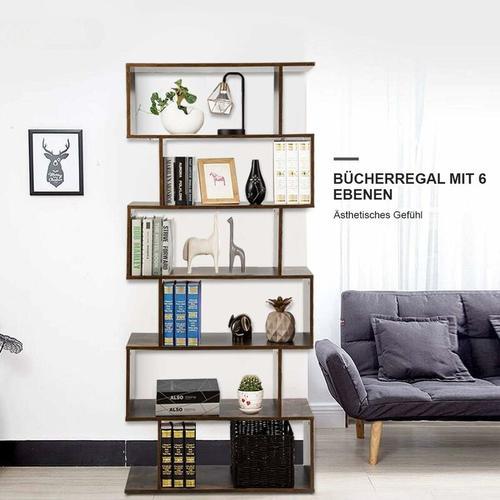 COSTWAY Bücherregal Holz, Standregal mit 6 Ebenen, Aktenregal für Pflanzen & Bücher, Wandregal