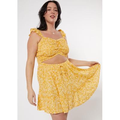Rue21 Womens Plus Size Yellow Smocked Cutout Skater Dress - Size 2X
