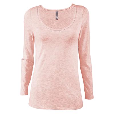 Platinum P507T Women's Delta Tri-Blend Long Sleeve Scoop Neck Top in Blush Quartz size 2X   Polyester/Cotton/Rayon