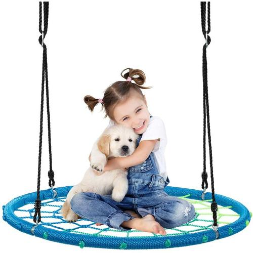 ?100cm Nestschaukel Spinnennetz Kinderschaukel, Rundschaukel 100-160cm Seil, Baumschaukel 150kg