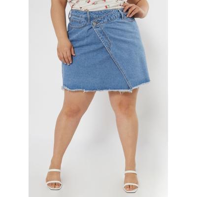 Rue21 Womens Plus Size Light Wash Asymmetrical Crisscross Denim Skirt - Size 1X
