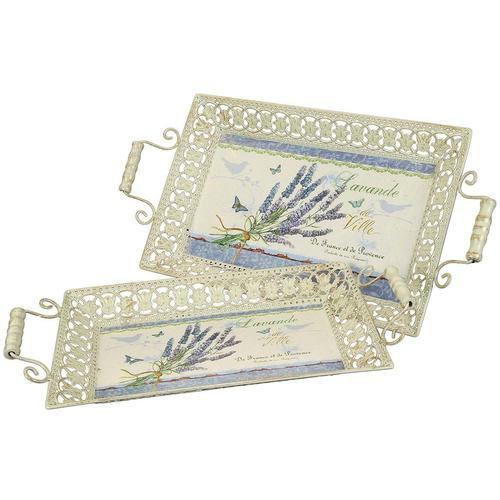 Ambiente Haus Tablett Lavendel-Tablett 2er Set beige Dekoschalen Dekotabletts Deko Wohnaccessoires