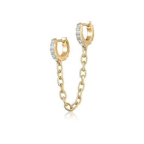 Ohrringe Duo Creolen Trend Kristalle 925 Silber Elli Gold