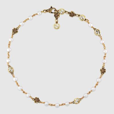 Interlocking G Flower Pearl Necklace - Metallic - Gucci Necklaces