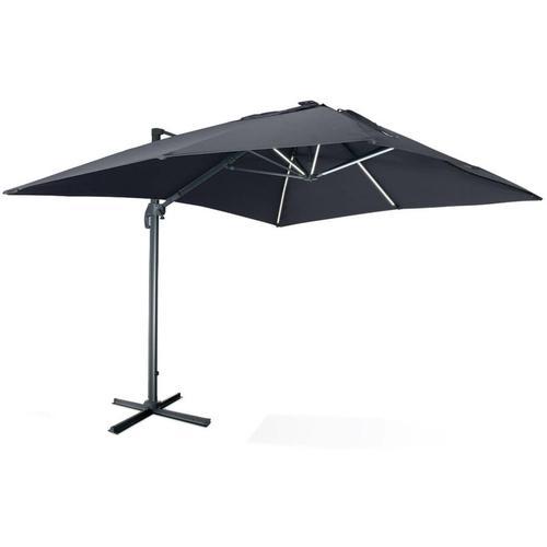 Qualitativ hochwertiger rechteckiger LED-Solar- Sonnenschirm 3 x 4 m - Luce Grau - kippbar, faltbar