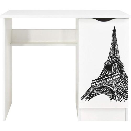Weiß Kinderschreibtisch - ROMA - Möbel für Kinderzimmer, UV-Druck: Eiffelturm