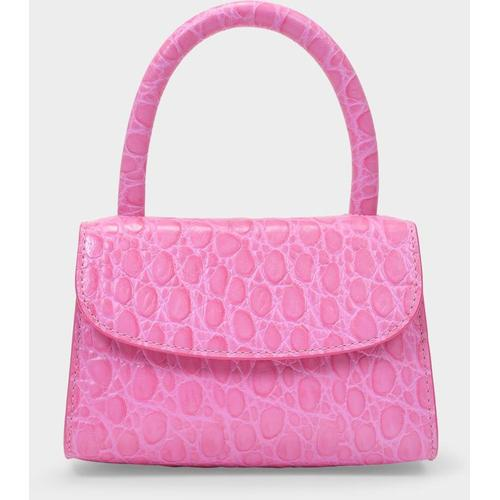 By Far Tasche Mini aus kroko-geprägtem rosafarbenem Leder