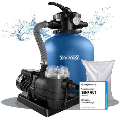 Sandfilteranlage 11.000 L/h Vorfilter Sandfilter Filteranlage Poolfilter XXL Tank inkl. 25kg