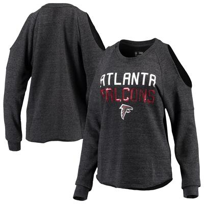 Women's New Era Heather Black Atlanta Falcons Cold Shoulder Tri-Blend Raglan Long Sleeve Crewneck Fleece