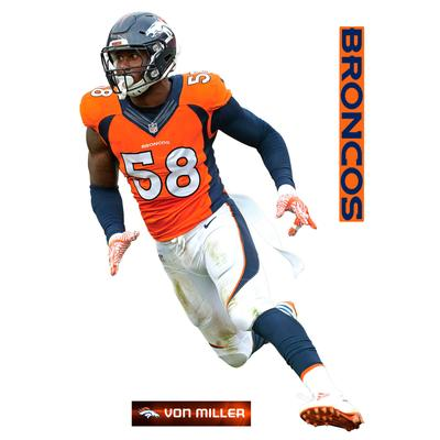 Fathead Von Miller Denver Broncos 3-Pack Life-Size Removable Wall Decal