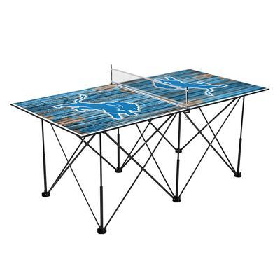 Detroit Lions 6' Weathered Design Pop Up Table Tennis Set
