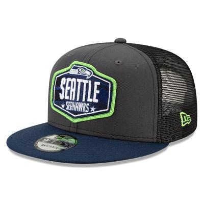 Youth Seattle Seahawks New Era Graphite/College Navy 2021 NFL Draft Trucker 9FIFTY Snapback Adjustable Hat
